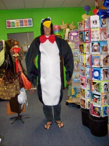 Curtis in the penguin outfit for Mr. Koolz